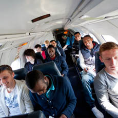 Aeronautical Engineering Students on a Test Flight at the Cranfield National Flying Laboratory Centre